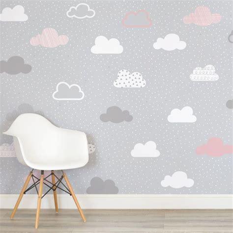 pink  grey clouds pattern nursery square wall mural