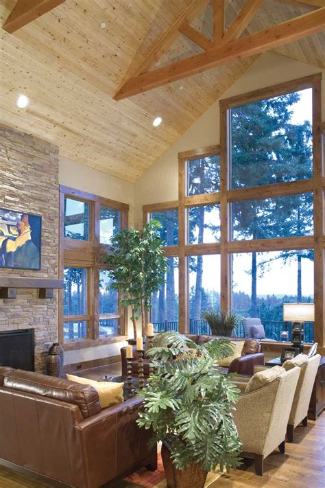 rustic home plan great room photo  plan