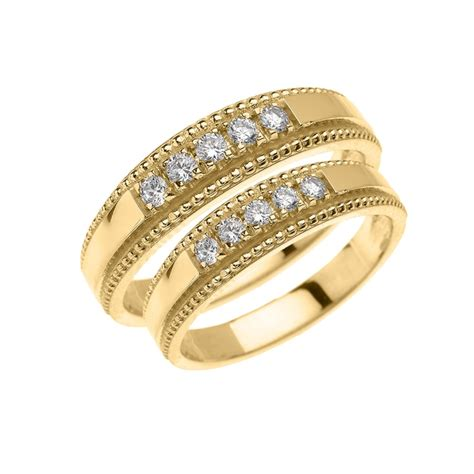 yellow gold diamond    matching wedding band