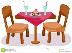 Illustration of isolated table and chairs on white background.