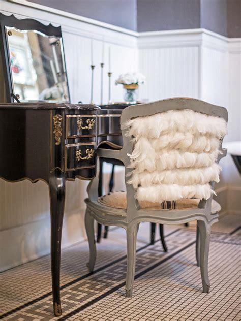 embellish  vanity chair  feathers hgtv