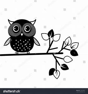 Cute Owl, Black And White. Vector Illustration - 132557897 ...