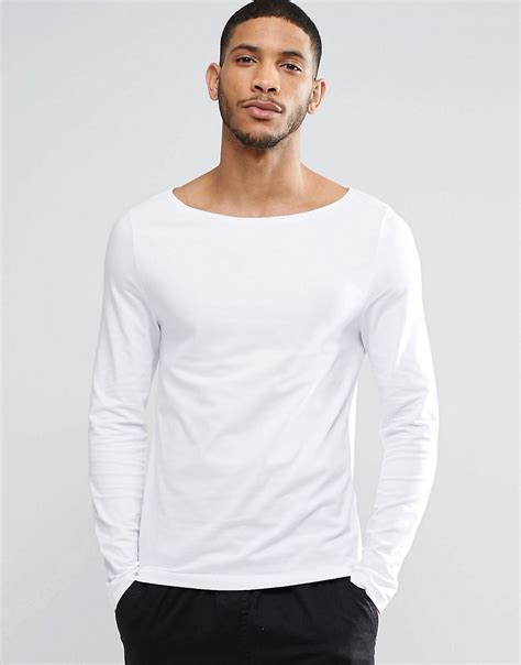 Boat Neck T Shirt For Mens by Asos Sleeve T Shirt With Boat Neck In White In