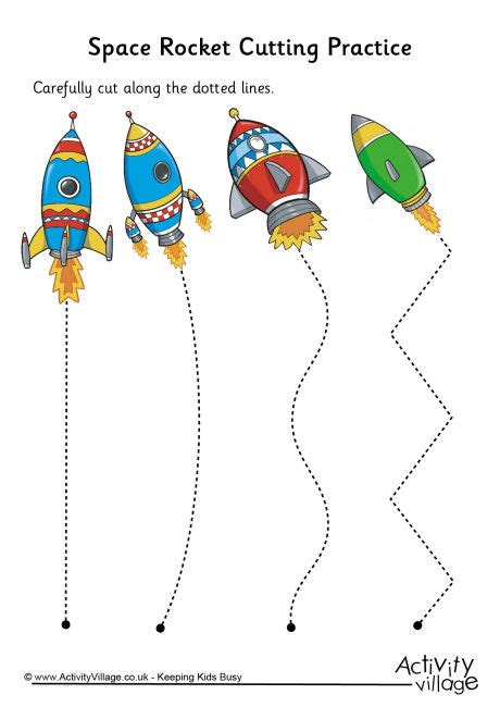 space rocket cutting practice pre k and kindergarten