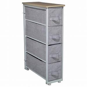Meuble Rangement Gris : meuble de rangement 4 tiroirs gris clair ~ Teatrodelosmanantiales.com Idées de Décoration