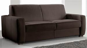 canape convertible 2 places cuir marron pas cher With canape marron 2 places