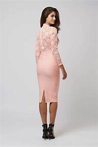 Topshop Long Sleeve Lace Midi Dress By Rare in Pink | Lyst