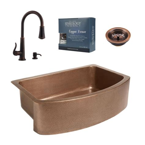 copper sinks kitchen sinkology pfister all in one ernst copper farmhouse 2586