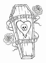 Coffin Drawing Tattoos Tattoo Trio Flash Alkaline Mine Skull Drawings Outline Brass Coloring Outlines Cool Knuckles Traditional Heart Roses Whistle sketch template