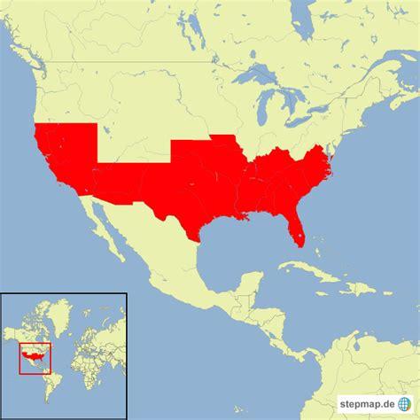 stepmap usa baumwoll anbaugebiete landkarte fuer