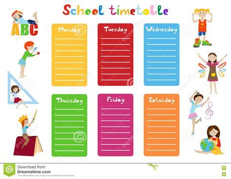 School Timetable With Kids Cartoon Vector