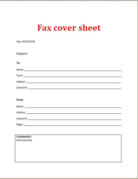 fax cover sheet exle fax cover sheet word excel templates