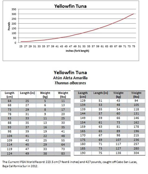 tuna yellowfin weight fish length conversion mexican tables
