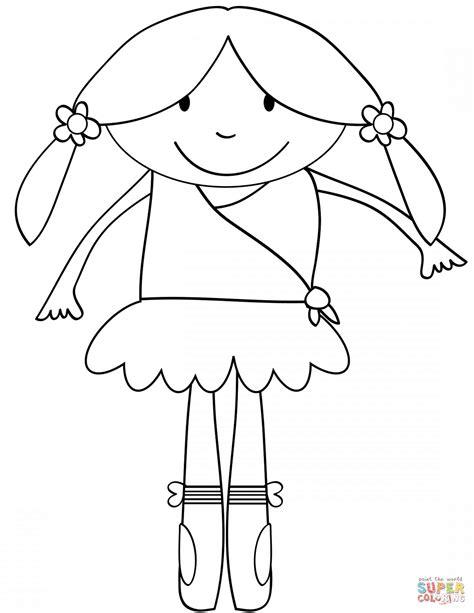 cute cartoon ballerina coloring page  printable