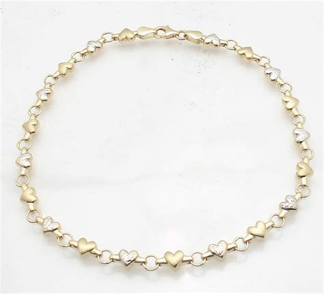 heart chain anklet ankle bracelet real  yellow white