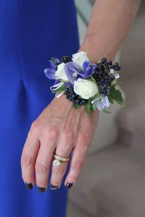 cobalt blue  ivory wrist corsage cosages wrist