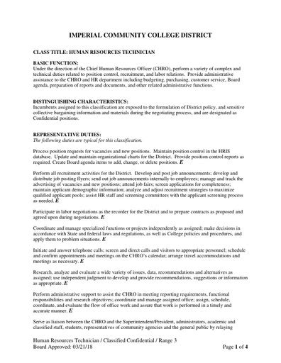 Human Resources Technician by Human Resources Technician Imperial Valley College
