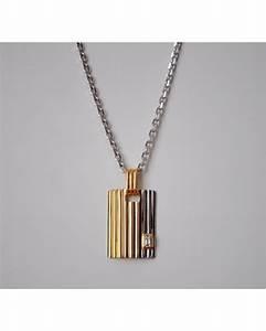 pendentif pour homme plaque deux ors 750 et diamant taille With pendentif homme