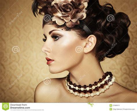 Retro Portrait Of A Beautiful Woman Vintage Style Stock