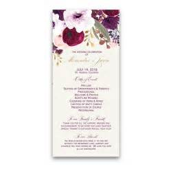 wedding invitations and rsvp floral watercolor flowers purple gold wedding program