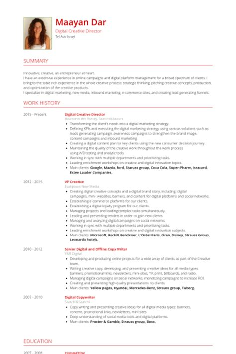 creative director resume sles visualcv resume sles