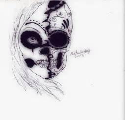 Half Skeleton Face Drawings
