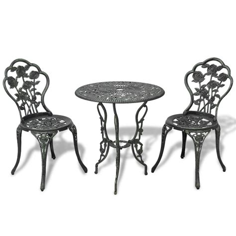 chaise bistrot aluminium jardin vidaxl co uk vidaxl three bistro set green cast