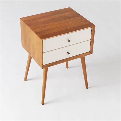 white mid century nightstand mid century nightstand white acorn west elm