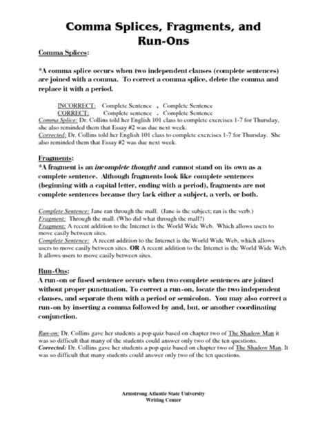Comma Splice Worksheets Worksheets For All  Download And Share Worksheets  Free On Bonlacfoodscom