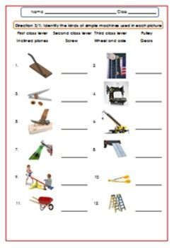 simple machines worksheet test exercises for g 4 6 by smiley