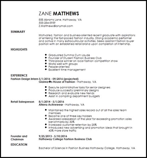 Resume Me Now by Free Entry Level Fashion Assistant Buyer Resume Template