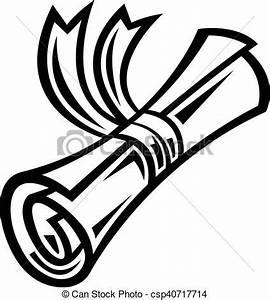 School graduation diploma rolled paper & ribbon.