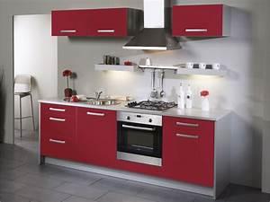 cuisine grise et rouge pas cher sur cuisinelareduccom With cuisine rouge et grise