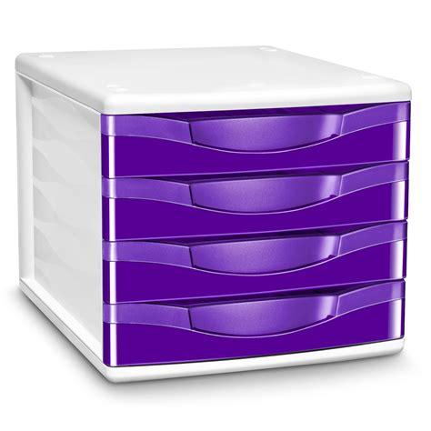 bloc de classement bureau cep module de classement 4 tiroirs gloss violet 894g