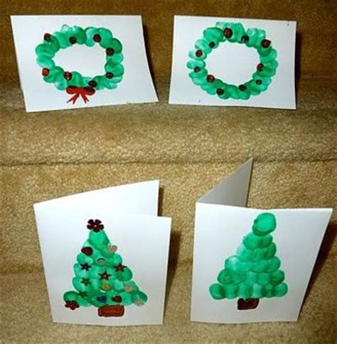 finger print christmas cards ideas tree with finger print