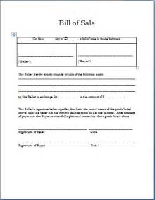 Template For A Bill Of Sale by Printable Bill Of Sale Word Documents Templates