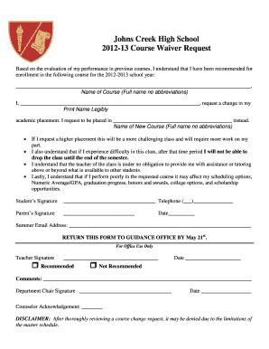 high school waiver form fill printable fillable