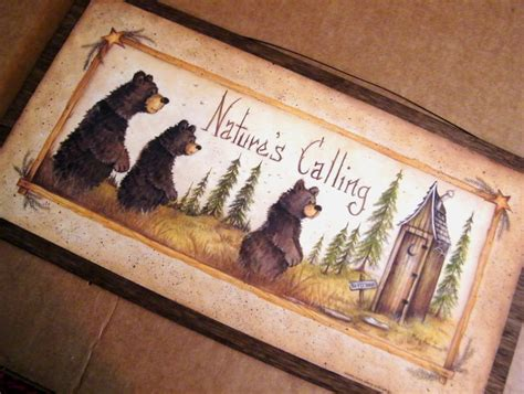 Primitive Bathroom Wall Decor by Retro Vintage Primitive Outhouse Bath Bathroom Sign