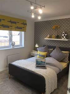 Fox, Bedroom, Grey, And, Yellow, Feature, Wallpaper, And, Blind, Shelf, Above, Headboard