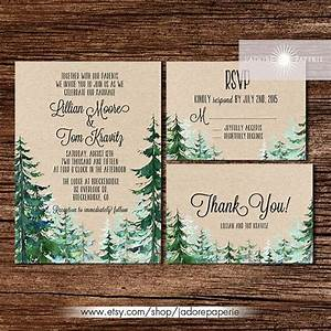 forest wedding invitation rustic watercolor tree invite With wedding invitations with pine trees