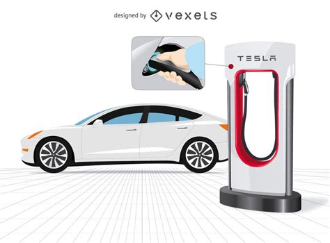 tesla car  charger  close  vector