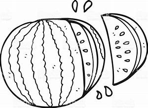 Clipart Of Watermelon Black And White - ClipartFest
