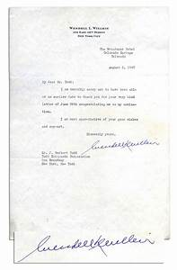 Lot Detail Wendell L Willkie 1940 Typed Letter Signed