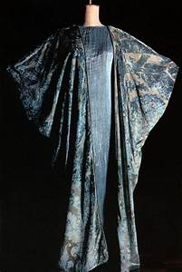 fortuny silk velvet cloak over a blue and grey silk satin With robe delphos fortuny