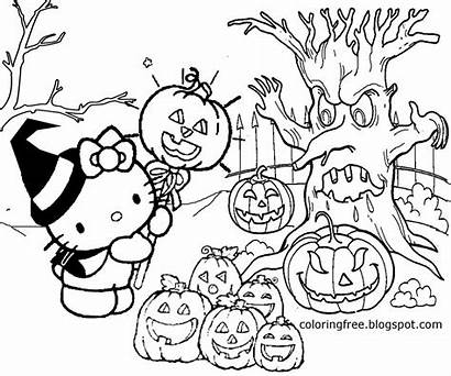 Coloring Halloween Pages Kitty Drawing Hello Printable