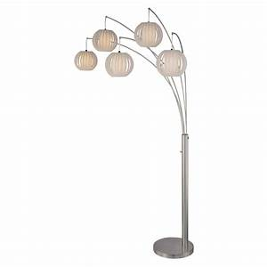 illumine 5 light floor lamp steel finish white shade the With 5 light floor lamp home depot
