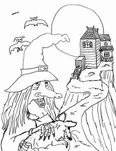 Free coloring pages of witches hats