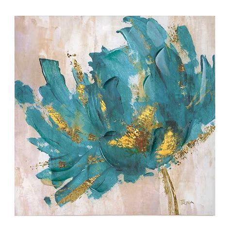 Turquoise and Gold Flower Canvas Art Print   Kirklands