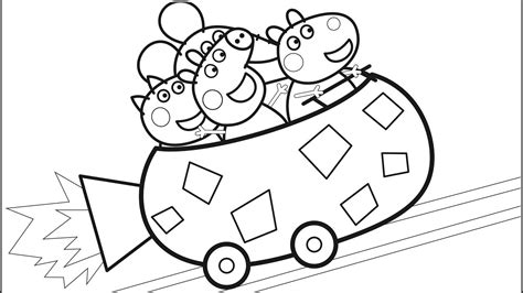 peppa pig coloring pages peppa pigs roller coaster fun