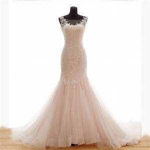 light pink mermaid wedding dresses with beading 2015 lace With lightweight wedding dress